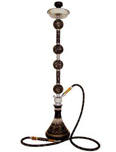 "24/"" Khalil Mamoon Mini BEAST COPPER Hookah Egyptian Pipe Gold Striped Black"