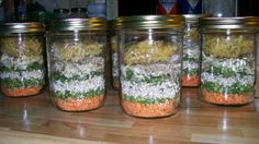 Minestrone Soup Gift Mix in a Jar   Ingredients      1/4 cup red lentil     1/4 cup split peas     1/4 cup barley     1/3 cup beef bouillon granules (use veg)     2 tbsps parsley flakes     3 tbsps onion flakes     1/3 tsp thyme     1/3 tsp black pepper     1 tsp basil     1/4 cup alphabet pasta (approximately)