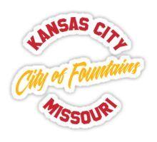 'Kansas City - City of Fountains Red and Gold' Sticker by Bentaperture Kansas City Skyline, Kansas City Missouri, Sticker Design, Sell Your Art, The Twenties, Stickers, Red, Travel, Viajes