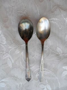 Vintage Wm. A. Rogers 2 SPOONS Silverplate Ornate $8.97 via Orphaned Treasures Etsy