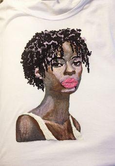 Afro T-shirt Black Woman Sisterlocks  Wearable art