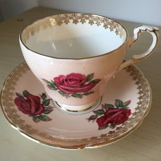 Paragon Peach Vintage Tea Cup and Saucer Dark Pink by CupandOwl
