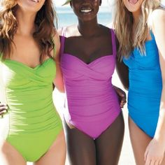 Swim suits...Very modest :) I like the green one!!!