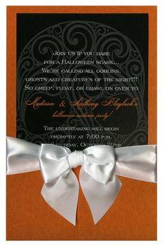 Black Skull Damask with White Bow #skeleton #skull #halloween #fall #autumn #party #event #invite #invitation #invitationbox #design #interesting #pinterest #scary #spooky #ribbon #bow