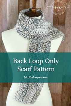 Are you looking for a quick and easy crochet scarf pattern? Try out this beginner-friendly free crochet scarf pattern that uses the back loop only technique. #scarf #crochet #beginner #freepattern Yarn|Crochet|Pattern via @stitchinprogress