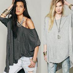 New Lady Women's Loose Casual Solid O-Neck Long Sleeve Irregular Hem Top Shirt