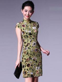 Green Short Silk Cheongsam / Qipao / Chinese Evening Dress