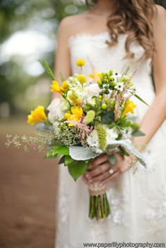 Wildflower Styled Bouquet with dusty miller, billy balls, freesia, hypericum, astilbe, roses, wheat and seeded eucalyptus.