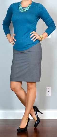 outfit post: blue sweater, teal necklace, grey pencil skirt | Outfit Posts