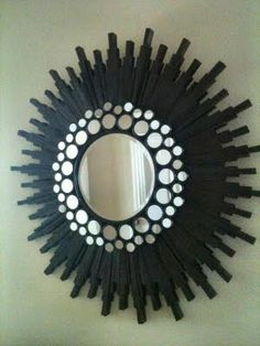 Blast From The Past (DIY Sunburst Clock From - Addicted 2 Decorating® Sunburst Clock, Starburst Mirror, Sun Mirror, Mirror Art, Mirror House, Luxury Mirror, Diy Frame, Diy Wall Art, Diy Craft Projects