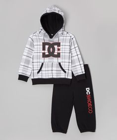 Look what I found on #zulily! White Logo Fleece Hoodie & Sweatpants - Infant, Toddler & Boys by DC #zulilyfinds