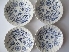 Vintage Meakin Nordic Blue Berry Bowls Set of Four by thechinagirl