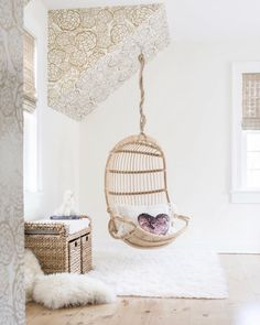 Check out the Hanging Rattan Chair and the rest of our unique Chairs at Serena and Lily. Eames Chairs, Rattan Chairs, Desk Chairs, Bar Chairs, Office Chairs, Dining Chairs, Velvet Chairs, Bedroom Chair, Swing In Bedroom