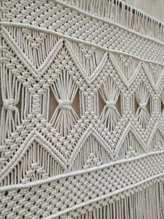 King size headboard, Large macrame wall hanging, Bohemian home decor, curtain, window valance – Pins Macrame Wall Hanging Patterns, Large Macrame Wall Hanging, Macrame Art, Macrame Design, Macrame Projects, Macrame Patterns, Tapestry Wall Hanging, Wall Hangings, Quilt Patterns