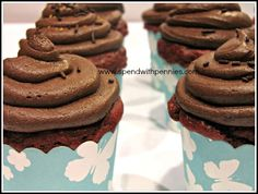 "Chocolate Buttercream Frosting  Love it?  Pin it (just click the photo above)! Follow Spend With Pennies on Pinterest for  more great recipes! I don't know about you, but I always think of a cupcake as a ""frosting holder"".  I've had good cupcakes, even..."