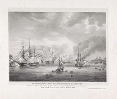 Desguerrois & Co.   Overwinning op Palembang, 1821, Desguerrois & Co., Weduwe Gerard Hulst van Keulen, 1821   Beschieting van de kustbatterijen gelegen aan de rivier in Palembang op Sumatra door Nederlandse oorlogsschepen onder bevel van generaal H.M. de Kock, 24 juni 1821.
