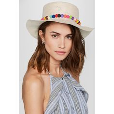 Sensi Studio Pompom-embellished toquilla straw Panama hat (£95) via Polyvore featuring accessories, hats, pompom hat, palm leaf hats, panama straw hat, palm straw hats and summer straw hats
