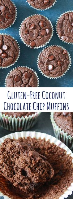 Soft, moist, almost healthy chocolate chip muffins made with coconut flour!