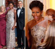 Vestido de festa como inspiração para mãe de noiva | Michelle Obama veste Naeem Khan