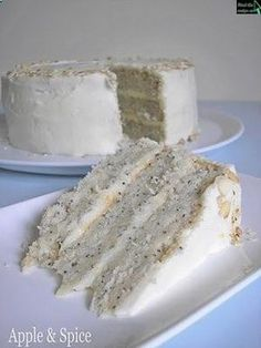 Lemon Poppy Seed Cake with Almond Frosting