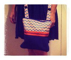Gator Messenger bag orange and blue chevron by AngjmBags on Etsy
