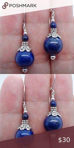 Natural Semiprecious Gemstone Beads Blue Lapis Lazuli Earrings 9ct Gold Drops