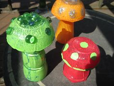 Painted glass garden mushrooms by Cherie Burbach
