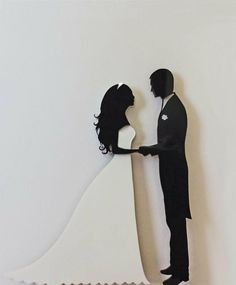 Wedding Cake Topper Silhouette Groom And Bride, Black And White Acrylic Cake Topper [CT38a]