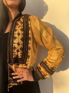 Excited to share this item from my shop: unique bomber jacket / mustard yellow vintgae bomber / festival gypsy jacket / spring baluchi dress jacket Balochi Dress, Jacket Dress, Hand Embroidery Dress, Sleeves Designs For Dresses, Pakistani Dresses Casual, Teenage Girl Photography, Kurti Designs Party Wear, Boho, Festival Outfits