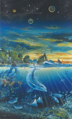 The Beauty and Wonder of Nature by Robert Lyn Nelson ~ dolphins stingrays planetary sunset