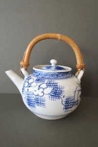 Vintage Chinese Teapot Blue White Porcelain Hand painted ...
