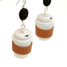 Take Out Coffee Cup Inedible Dangle Earrings