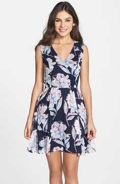 Free shipping and returns on French Connection Print Chiffon Fit & Flare Dress at Nordstrom.com. Screenprinted flowers pop against the airy chiffon of this surplice-neck dress that's gathered along the waist.