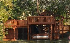 Fort Stockton redwood swing set with tree deck with a bridge to a deck with daybed under deck. Outdoor Swing Sets, Outdoor Play, Outdoor Ideas, Outdoor Decor, Fort Stockton, Tree Deck, Under Decks, Outdoor Daybed, Wooden Swings