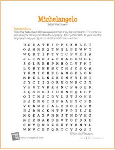 Free Printable Word Search Worksheet for Michelangelo Michelangelo, Art History Lessons, Art Lessons, Writing Lessons, Spanish Lessons, Middle School Art, Art School, Art Handouts, Art Worksheets