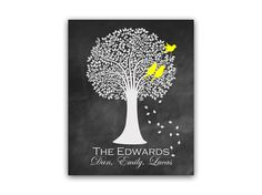 Custom Family Tree Art Print DIGITAL DOWNLOAD by HuggableMeDesigns