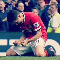Herrera celebrates having scored an impressive brace v Aston Villa. 4.4.2015