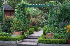 Garden design garden path pavers pergola