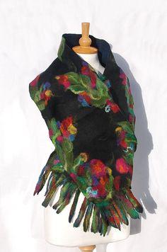 Felted scarf felt scarf merino wool  winter fiber art by AnnaWegg, £42.99