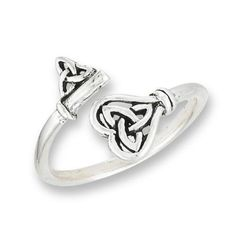 Sterling-Silver-925-CELTIC-Double-TRIQUETRA-Knot-Ring-overlapping-ends-Size-8