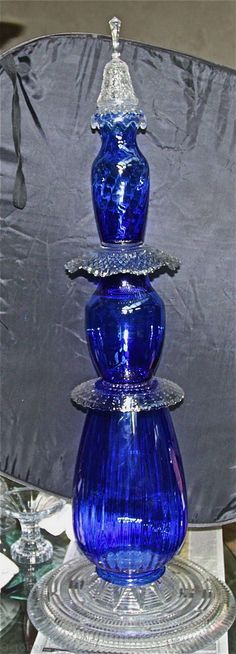 finished blue/crystal totem  Octoberfarm: Step by Step Garden Totem Tutorial