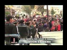 Pese al estado de emergencia, hoy se registraron marchas en Bambamarca. Cerca de 200 personas tomaron las calles para protestar contra el proyecto minero Conga.