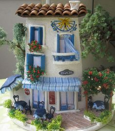 Collection and tips for hobbies Clay Houses, Ceramic Houses, Miniature Houses, Miniature Dolls, Tile Crafts, Clay Crafts, Diy And Crafts, Doll House Crafts, House On The Rock
