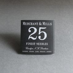 Merchant & Mills 25 Fines Sewing Needles:  25 assorted fine sewing needles and small threader. Needles are made in Japan. Founded by Carolyn Denham and Roderick Field, M&M seems to be single-handedly lifting  dressmaking out of its association with drudgery and cutesy florals. Carolyn's patterns, choice of fine sewing notions and tools, and simple packaging have aided in Merchant & Mills speedy ascent.