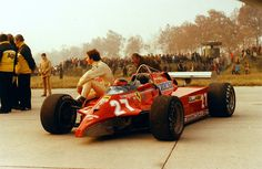 Gilles Villeneuve with the Ferrari 126C Formula One Car