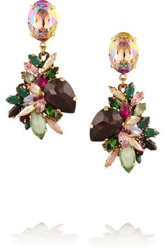 Erickson Beamon | Cosmic Code gold-plated Swarovski crystal drop earrings | NET-A-PORTER.COM