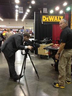 Andy Barth shooting a story with DeWalt at the OK Dept of CareerTech 2013 Summer Conference.