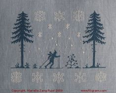 Filigram - Under the Fir Trees 153 x 114 stitch count  Cross stitch – back stitch – french knot Color code: DMC and The Gentle Art – 2 colors Fabric suggestions: Undyed linen or Grey Blue