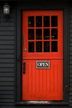 Love the RED on black look Picture - Red door in Salem, Massachusetts.   ..rh