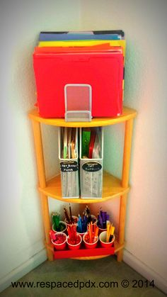 Easy, cheap DIY way to organize kids' art supplies. Shoebox lid, plastic cups, file folders, file sorter, and magazine holders. www.respacedpdx.com